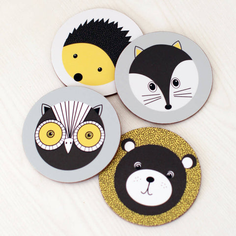 Set Of Four 'Forest Animals' Coasters
