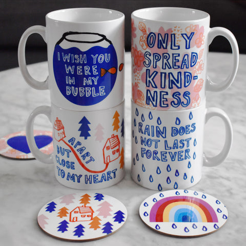 'Stay At Home' Illustrated Set Of Four Mugs