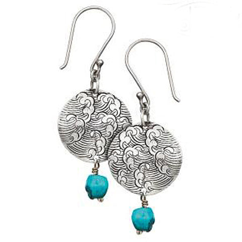 Sterling Silver Turquoise Earrings, Sterling Gemstone Earrings, Spiritual Jewelry