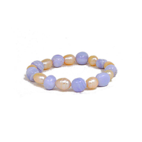 Blue Lace Agate Bracelet, Blue Lace Agate and Fresh Water Pearl Bracelet, Gemstone Power Bead Bracelet