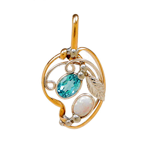 Blue Topaz and Opal Pendant, Handcrafted Gemstone Pendant, Healing Crystal Pendant
