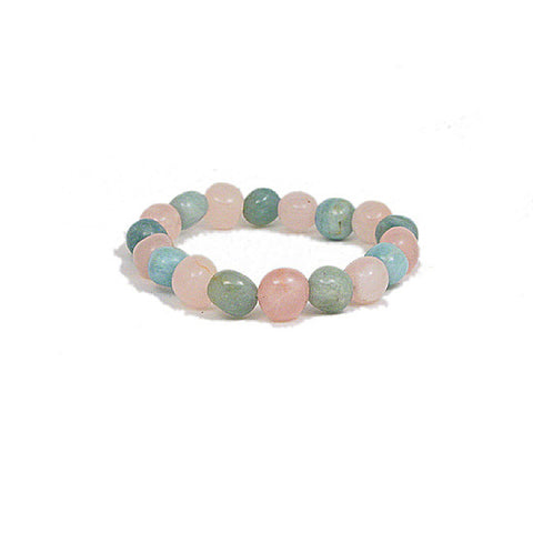 Rose Quartz and Prehnite Stretchy Bead Bracelet