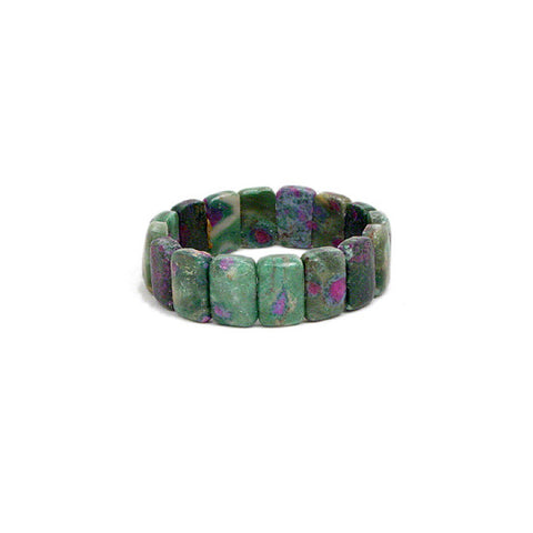 Ruby in Fuschite Tile Bracelet, Gemstone Strechy Bracelet