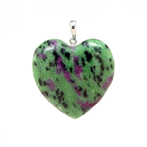 Ruby in Zoisite Pendant, Ruby Zoisite Crystal Pendant, Ruby Zoisite Heart Pendant