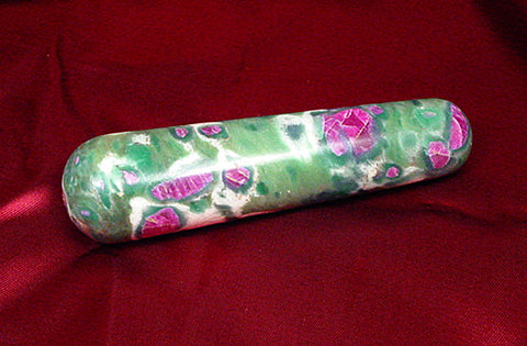 Ruby in Fuschite Massage Want, Gemstone Healing Wand, Ruby Fuschite Crystal Wand