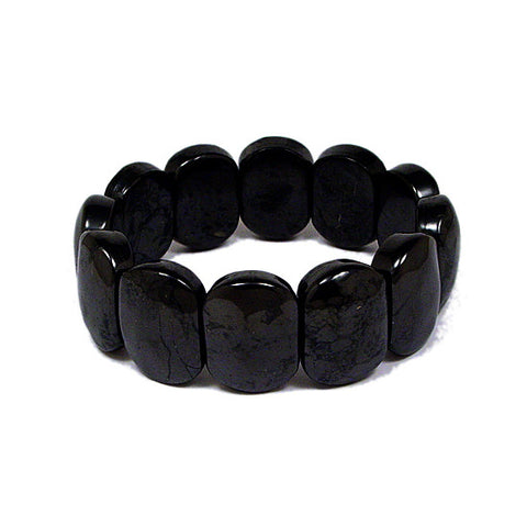 Shungite Bracelet, Electromagnetic Radiation Protection, Shungite Bracelet with Flat Ovals