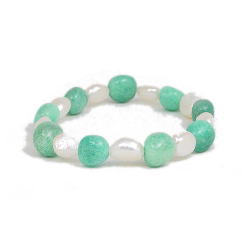 Amazonite and Fresh Water Pearl Stretchy Bracelet