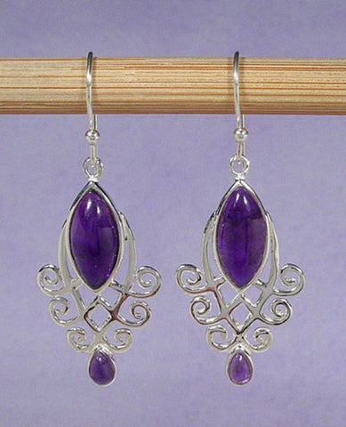 Amethyst Earrings, Sterling Amethyst Earrings, Natural Gemstone Jewelry