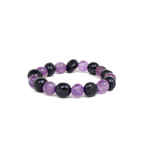 Black Tourmaline and Amethyst Bead Bracelet, Gemstone Stretchy Bracelet, Crystal Bead Bracelet