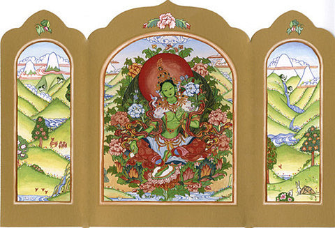 Travel Altar Card, Folding Travel Altar, Green Tara Travel Altar