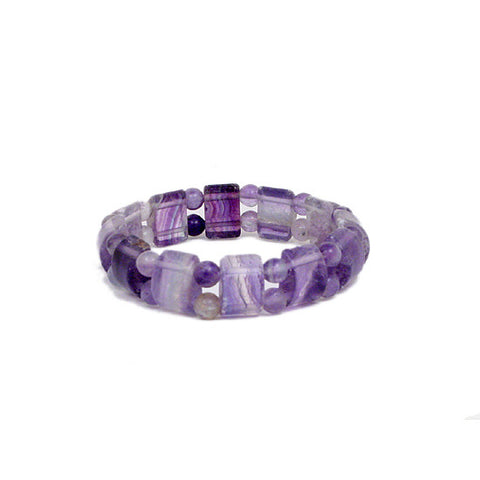 Purple Fluorite Bracelet, Stretch Gemstone Bracelet, Tile Bead Bracelet