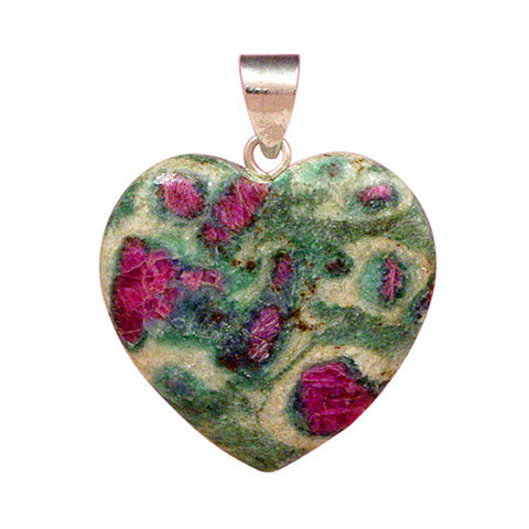 Ruby in Fuschite Pendant, Ruby in Fuschite Heart, Gemstone Pendant, Natural Gemstone Jewelry