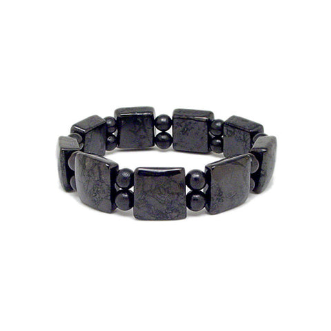 Shungite Bead Bracelet, Stretch Bead Bracelet, Power Bead Bracelet