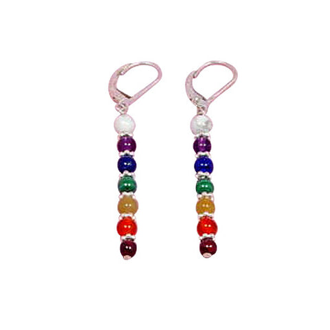 Chakra Gemstone Earrings, Chakra Jewelry, Sterling Gemstone Chakra Earrings