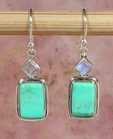 Turquoise and Rainbow Moonstone Earrings