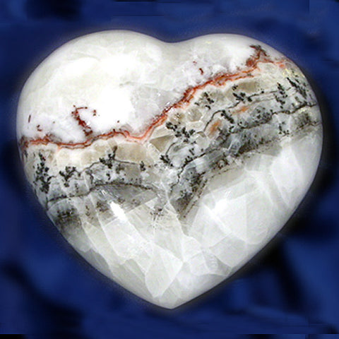 White Lace Calcite Heart, Gemstone Heart, Crystal Heart
