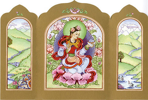 Travel Altar Card, Folding Travel Altar, Yeshe Tsogyal Travel Altar