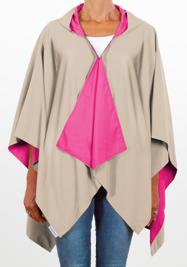 Hooded Hot Pink & Camel RAINRAP