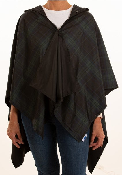Hooded Black & Green Plaid RAINRAP