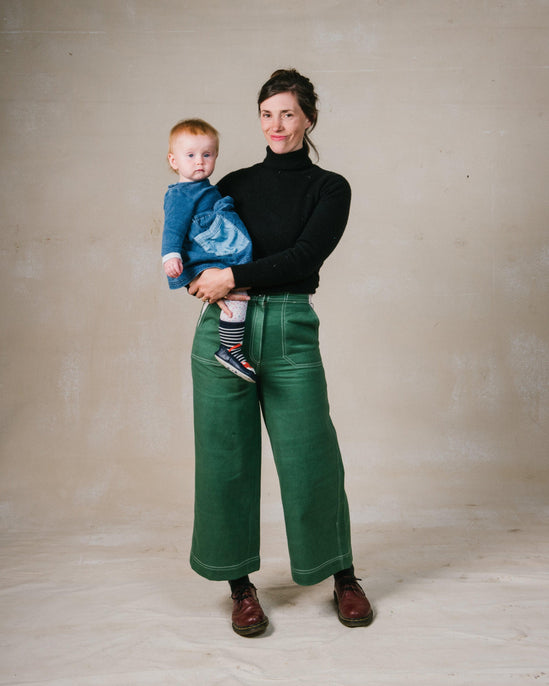 Green Utility Flared Trousers