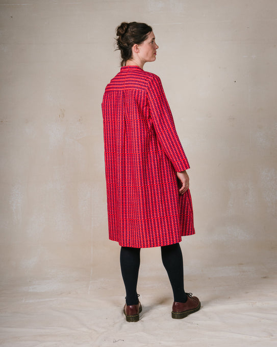 Aunty Jo Smock dress in Sheep on red print