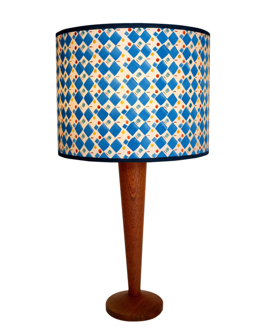 Hand painted lamp in Checkers and Deckers by Claire Cartwright Studio
