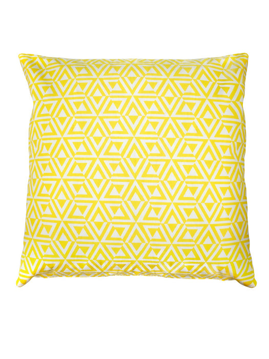 Small Wild Stripe and Yellow Honeycomb cotton cushion 50 x 50cm