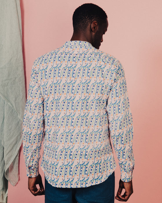 Organic Cotton Indian Collar men's Shirt in Hungry Bugs on Pink SS21 Pre-order