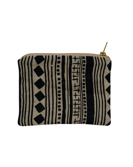 Linen zipped pouch - Cabaret Stripe in Black