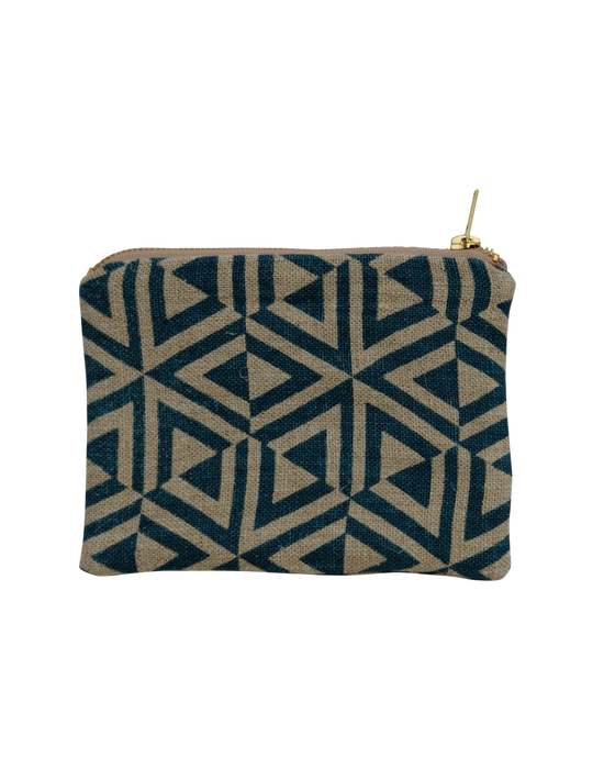 Linen zipped pouch - Honeycomb in Teal