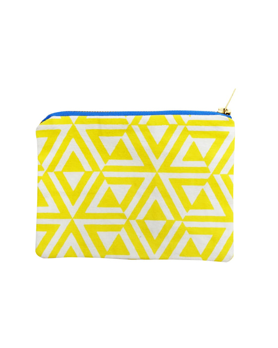 Cotton zipped pouch - Yellow Honeycomb