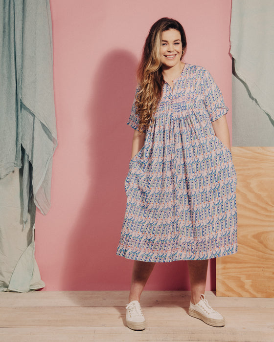 Organic cotton Embroidered Kitzy Dress in Hungry Bugs on Pink SS21 Pre-order