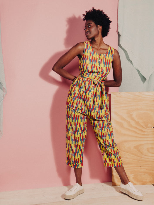 Organic Cotton Andy Dungarees in Parrot Streaks print SS21 Pre-order