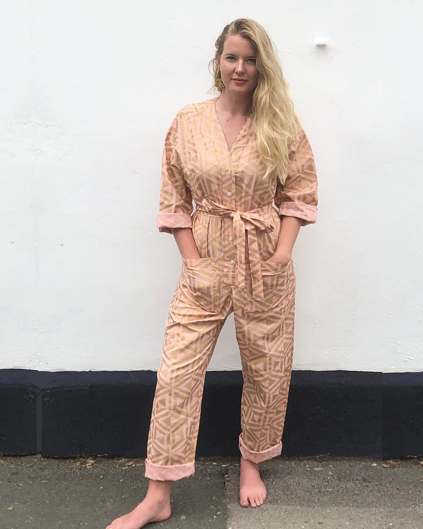 Gold on Pink Honeycomb Playsuit