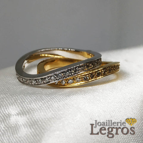 "Bijou Alliance or blanc diamants ""Vague d'amour"" Alliance or jaune diamants joaillerie legros bijouterie"