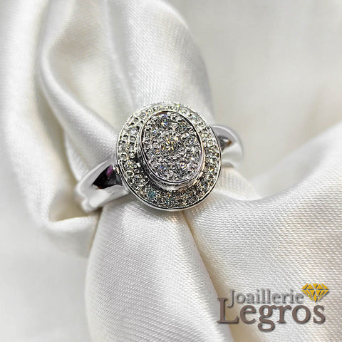 "Bijou Bague diamants or blanc 18 carats entourage et pavage diamants ""blanc pétillant"" joaillerie legros bijouterie"