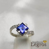 Bijou Bague Tanzanite Diamants Carrée en Or blanc 18 carats joaillerie legros bijouterie