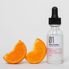 Load image into Gallery viewer, Double your glow power with the Fresh Chemistry™ Glow Getter Brightening Serum Supercharged Set which contains double the concentration of stabilized Vitamin C and Hyaluronic Acid.