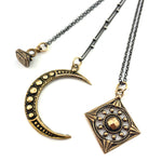 vintage charm antique button necklaces