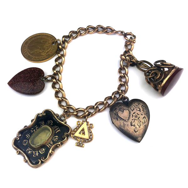 antique edwardian charm bracelet