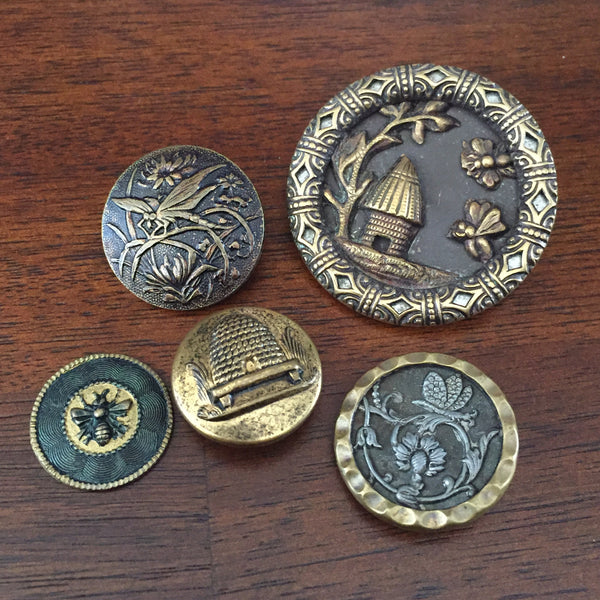 antique victorian bee beehive insect buttons