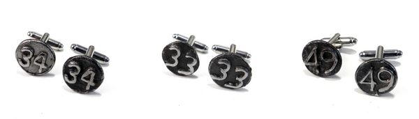 railroad date nail cufflinks
