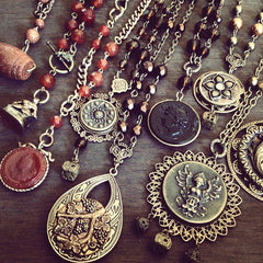steampunk jewelry antique button jewelry