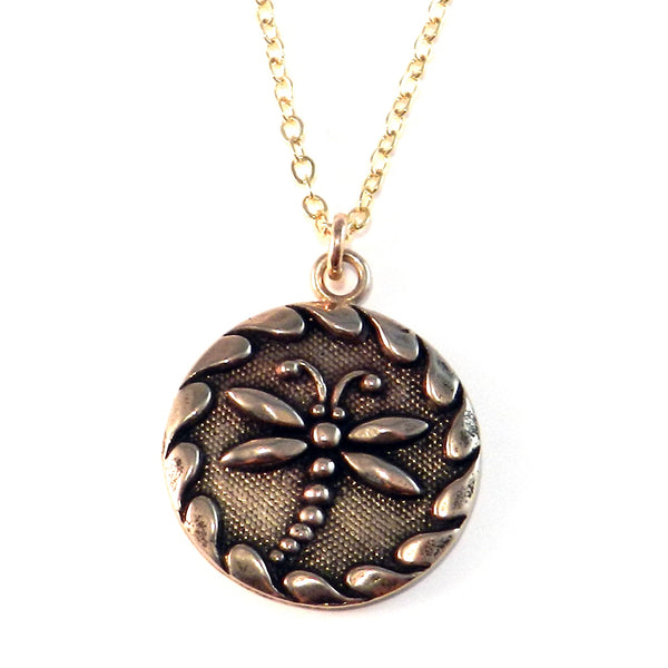 dragonfly antique button necklace - bronze classic