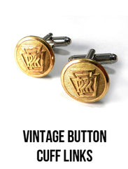 Vintage Button Cuff Links Railroad Train Cufflinks