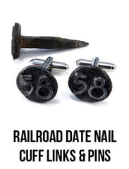 Railroad Date Nail cuff links and pins handmade in California