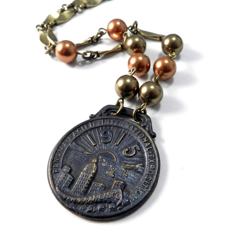 1915 pan pacific exposition vintage medal necklace