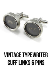 Vintage typewriter cuff links and pins