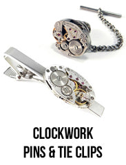 steampunk watch tie clips and pins