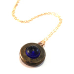 1890s AZURE BLUE - Antique Button Necklace - GOLD
